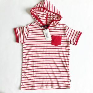 Silver jeans NWT stripe hooded short sleeve top 7Y